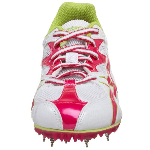 ASICS Women's Prima Diva Sprint Track & Field Shoe,White/Hot Pink/Lime,11 B US