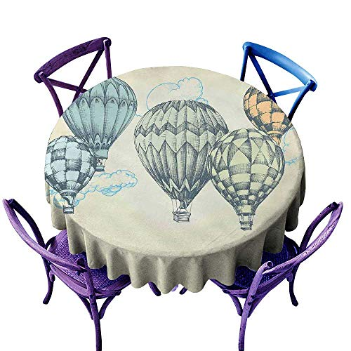 Vintage Decor Waterproof Tablecloth Hot Air Balloons in Soft Tone Fly in Sky Lighter Than Air High Tourism Artful Great for Buffet Table D63 Green Blue ()