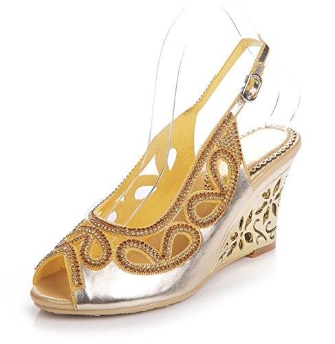 Cuña Zapatos Sandalias Señoras Boda Correa Tobillo Paseo Diamante x0awqg01