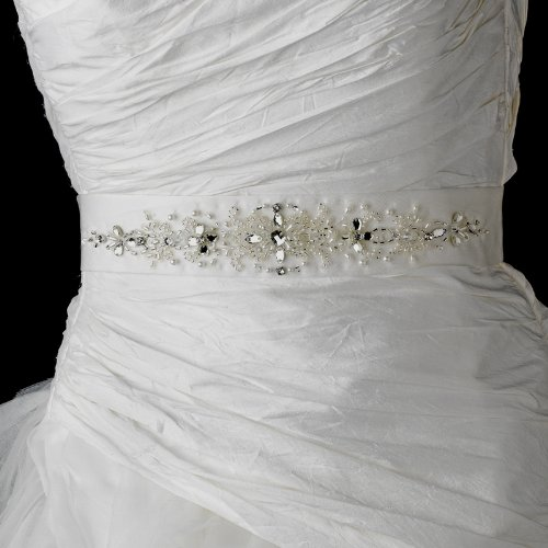 Swarovski Crystal and Pearl Beaded Wedding Bridal Sash Belt - White by Fairytale Bridal Accessories