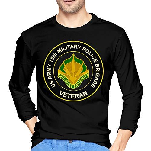 U.S. Army 15th Military Police Brigade Unit Crest Veteran Men's Long Sleeve Cotton Jersey Shirt Black