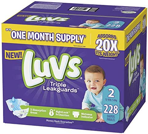 Diapers Size 2, 228 Count - Luvs Ultra Leakguards Disposable Baby Diapers, ONE MONTH SUPPLY (Packaging May Vary)