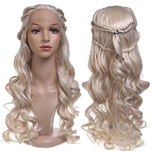 24'' Game of Thrones Wavy Lace Front Wigs Y.F.M Golden Blonde Curly Synthetic Hair, Loose Long Curly Water Wave Wigs, Mother of Dragons Cosplay Wig Realistic Looking for Fashion Dresses Costume