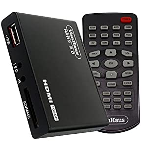 VonHaus 1080p HD TV Digital Mini Media Player - MKV - Play any file from USB HDDs/Flashdrives/Memory Cards - HDMI and AV Cables Included