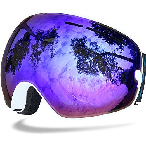 Samdo Helmet Compatible Snow Skate Ski Goggles Ski Eyewear with Mirror Coating Anti-Fog and UV 400 Protection Lens Snow Skate Spherical Goggles (Blue Revo, - Lens Goggles Mirror