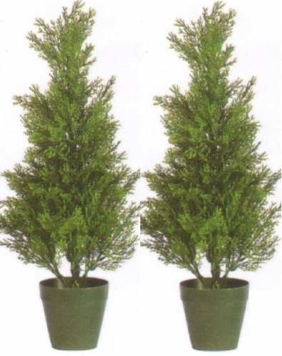 Silk Tree Warehouse Two 2 Foot Outdoor Artificial Cedar Topiary Trees Uv Rated Potted Plants
