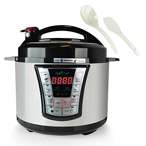 NutriChef High Power Stainless Steel Electric Pressure Cooker - 5 Quart Programmable Digital Instant Pot -Multi Recipes Cooker with 8 Modes, Lock Top Lid, Beep Alarm, Adjustable Temp / Timer - PKPRC66