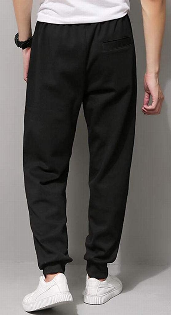 Fensajomon Mens Winter Warm with Velvet Loose Casual Plus Size Thicken Sport Jogger Pants Trousers
