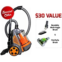 Ovente ST2620O Bagless Canister Cyclonic Vacuum – Hepa Filter – Includes Pet/Sofa Bendable Multi-Angle Crevice Nozzle/Bristle Brush, Retractable Cord – Featherlite – ST2620 Series