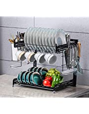 Dish Drying Rack, Trusthere 2 Tier Stainless Steel Dish Drainer Rack with Utensil Holder, Cup Hanging Holder Rustproof Plate Rack for Kitchen Counter