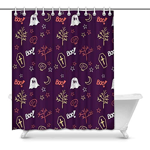 L.Fisher The Day of The Dead Halloween Theme Bathroom Shower Curtain Accessories, 60W X 72L -