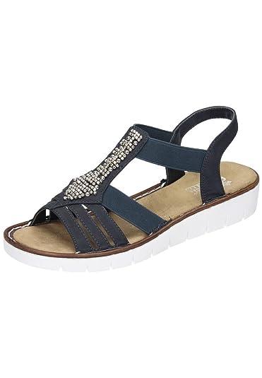 biggest discount online store cost charm Rieker Damen Pantoletten, Sandalen blau, 910688-5, Gr 43 ...