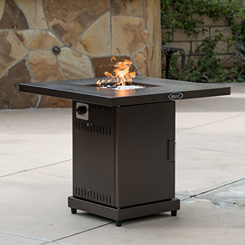 (Belleze Gas Outdoor Fire Pit Glass Table with Hammered-Bronze Finish, 40,000BTU, CSA)
