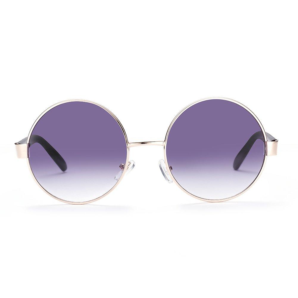 NYKKOLA Gafas de sol polarizadas Mujer Hombre vintage retro marco redondo UV400con funda., black fra...