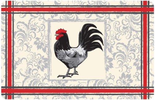 Gourmet Club Anti-Slip Printed Kitchen Rug 18x28, Rooster Floor Mat