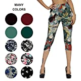 ZOOSIXX Capri Leggings for Women – Extra Soft Printed Floral Capri Pants for Summer (Plus Size (US 12-24), Mist)
