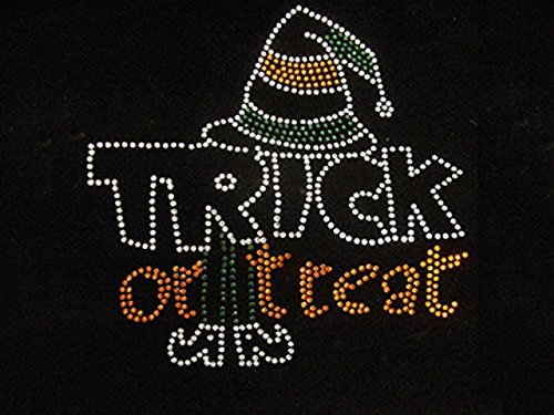 Halloween Rhinestone Iron on Transfer Hot Fix Bling Pumpkin Applique Witch DIY Applique