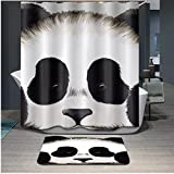 Home Fashion panda Shower curtain, size Width X Height / 72 x 72 inches / W * H 180 by 180 cm, polyerster, Eco-Friendly, best and suitable for relatives