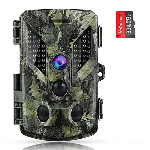 - ABASK Trail Cameras 16MP 1080P Full HD Game Cameras with Night Vision Motion Activated, Hunting Camera 940nm 44 LEDs Wildlife Trail Surveillance Cam Bundle with 32G Card, Mounting Stand&Strap