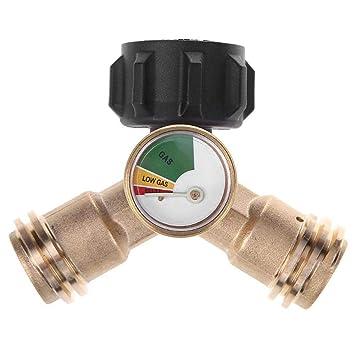 Adaptador de Tee Adaptador de estufa de gas exterior Propano Y Divisor con indicador de nivel ...