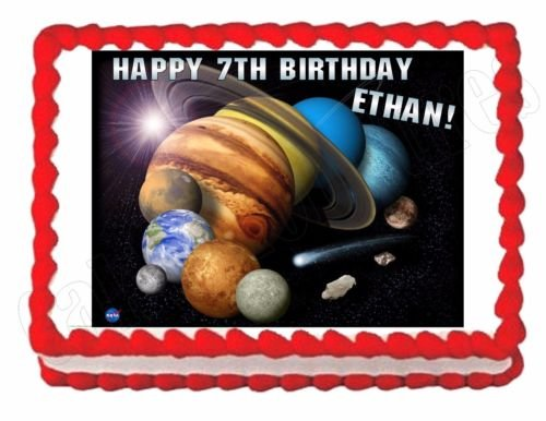 Solar System -Planets -Outer Space edible image party cake topper decoration]()