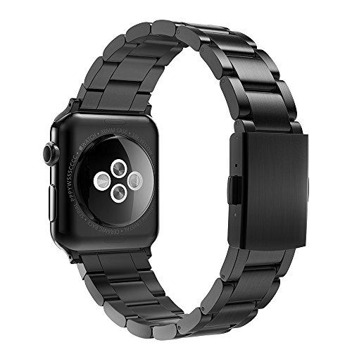 Simpeak Apple Watch 3 Band 42mm, Adjustment Band Strap for Apple Watch 42 mm Series 1 Series 2 Series 3 with Stainless Steel Metal Clasp - Black for Men (Band Metal Tool Heavy)
