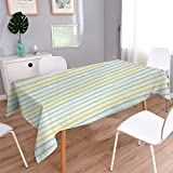 Striped Square Customized Tablecloth Watercolor Paint Brush Pattern in Pastel Tone with Grunge Effects Nouveau Artwork Stain Resistant Wrinkle Tablecloth Multicolor Size: W70'' x L70''