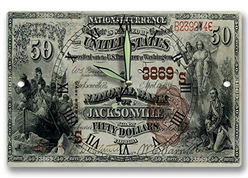 National Bank Currency - Barnett Bank Jacksonville FL Money Clock United States National Bank Currency Series 1882 50 Dollar Bill Banknote 8 x 12 inch Wall Clock