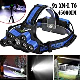 45000 LM 9X XM-L T6 LED Rechargeable Headlamp Headlight Travel Head Torch Nice