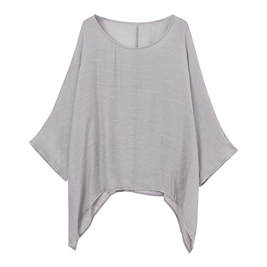 eba14034bca5 Misaky Women's Blouse Daily Casual Plus Size Loose Tops Cotton Linen Solid  Color Shirt (Gray