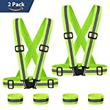 Fygou Hi Vis Safety Vest Reflective Gear, And Adjustable Reflective Running Apparel for Running,Walking, Cycling,Motorcycle,2 Pack Construction Security Vest With 4 Reflective Wristbands (Green)