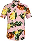 SSLR Men's Pineapple Button Down Hawaiian Short Sleeve Casual Shirt (X-Large, Pink)