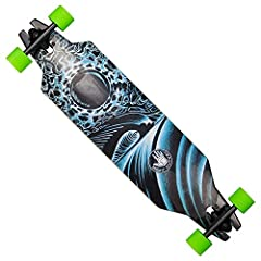Body Glove free rider slot through perform a CE longboard skateboard with open wheel design and reverse kingpin 7 inch trucks has sturdy 8 ply cold climate Maple 7 bearings, low center of Gravity and original art graphic by Kevin ginther.