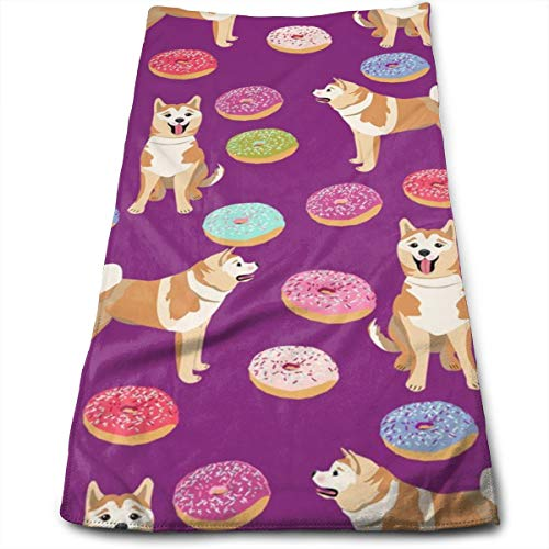 Akita Donut - Dog, Donuts, Dog, Food, Akita Dogs Hand Towels Dishcloth Floral Linen Hand Towels Super Soft Extra Absorbent for Bath,Spa and Gym 11.8