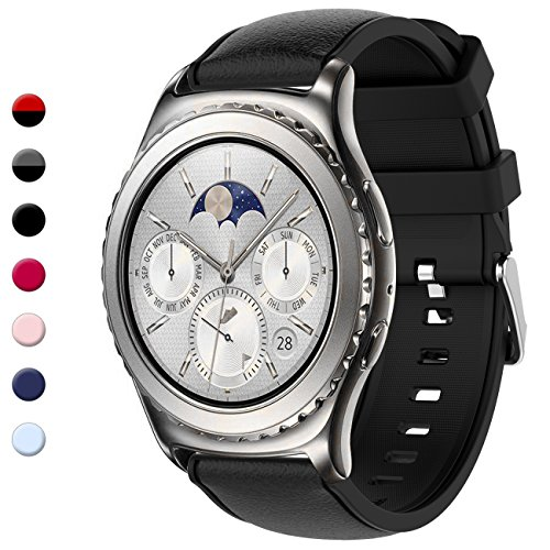 Gear S2 Classic Bands, Gear Sport Band Silicone Strap Quick Release for Samsung Gear S2 Classic(SM-R732 & SM-R735) & for Samsung Gear Sport(SM-R600) Smart Watch (NOT for Gear S2)(Black)