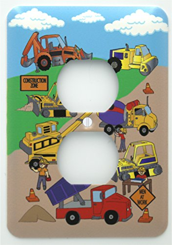 Construction Light Switch Plates / Outlet Cover / Construction Theme with Bulldozers, Tractors, Cement Truck, Steamroller, Krane, and Dump Truck Switch Plate