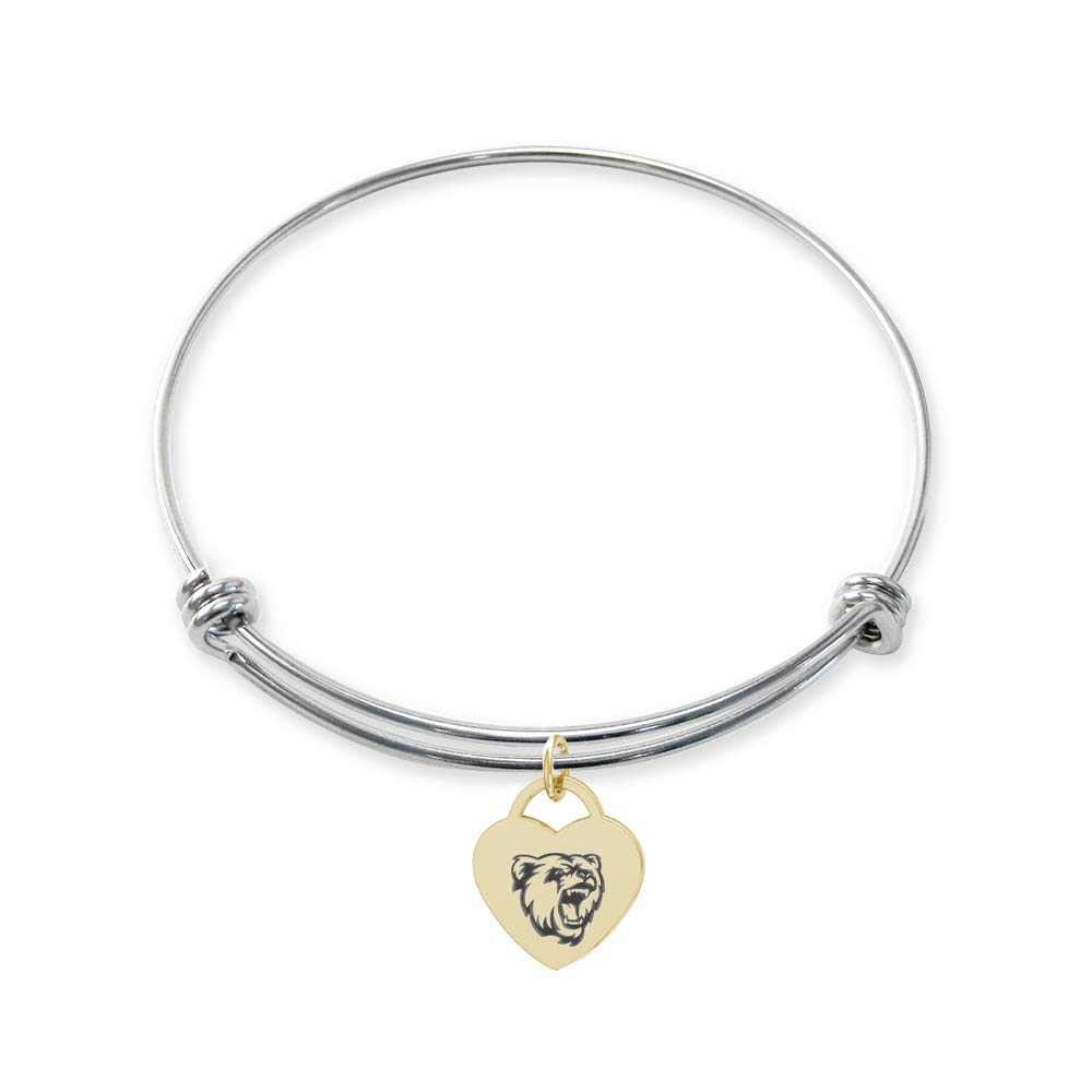 College Jewelry Bridgewater State Bears Stainless Steel Adjustable Bangle Bracelet with Yellow Gold Plated Heart Charm