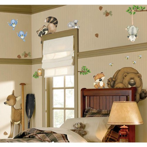 In The Woods Wildlife Animal Stickers Wall Decals Children Bedroom Decor by Border (Wall Kids Borders For)