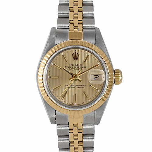 Rolex Ladies 26mm Stainless Steel & Yellow Gold Datejust Swiss-Automatic Watch - 6917 – Champagne Stick Dial - Yellow Gold Fluted Bezel – Two-Tone Jubilee Band (Certified Pre-Owned) by Rolex