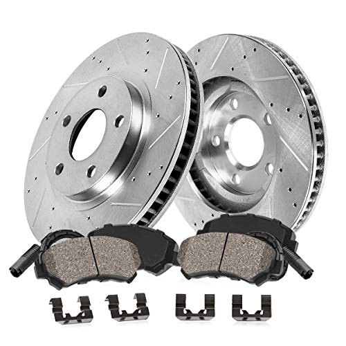 Callahan CDS03654 FRONT 373.88mm Drilled/Slotted 5 Lug [2] Rotors + Pads + Clips + Sensors [ for BMW 550i 550i 750 ]
