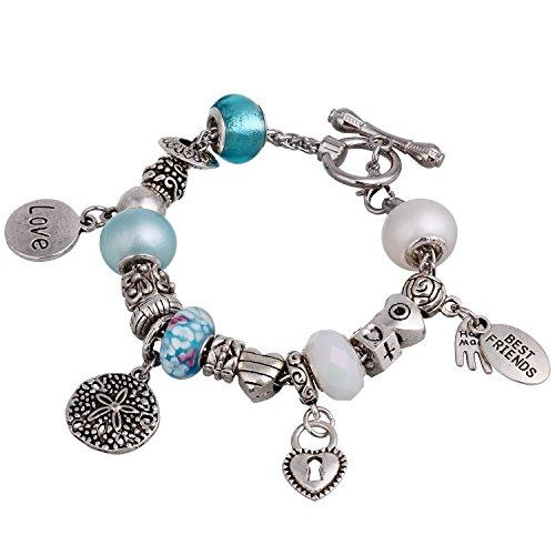 RUBYCA Love BFF Charm Bracelet Silver Tone Rolo Chain Toggle Clasp 7.9 (Rolo Chain Toggle Bracelet)