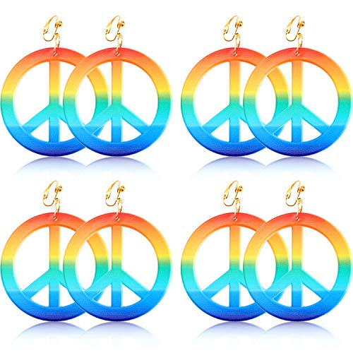 meekoo 4 Pairs Peace Earrings Hippie Style Earrings Rainbow Peace Sign Earring 1960's Party Hippie Costume Accessories ()