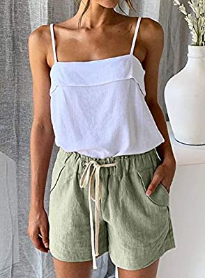 Bdcoco Womens Casual Drawstring Elastic Waist Solid Cotton Linen Beach Shorts with Pockets