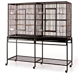 Large Double Flight Bird Wrought Iron Double Cage w/ Slide Out Divider 3 Levels Bird Parrot Cage Cockatiel Conure Bird Cage 63'Lx19'Dx64'H W/Stand on Wheels