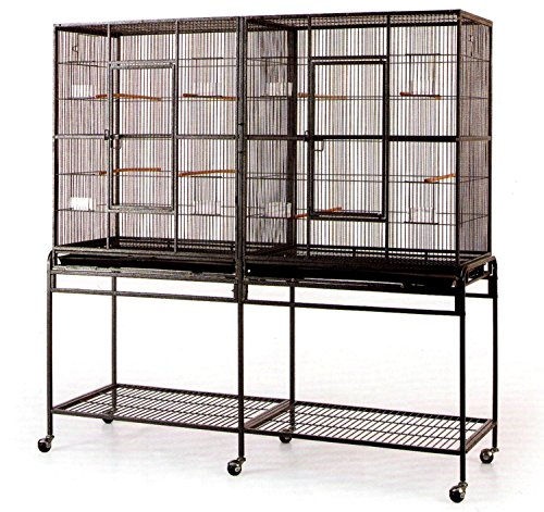 Large Double Flight Bird Wrought Iron Double Cage w/ Slide Out Divider 3 Levels Bird Parrot Cage Cockatiel Conure Bird Cage 63