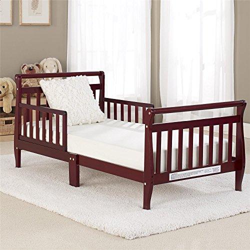 Big Oshi Classic Sleigh Design Modern Toddler Bed – Cherry