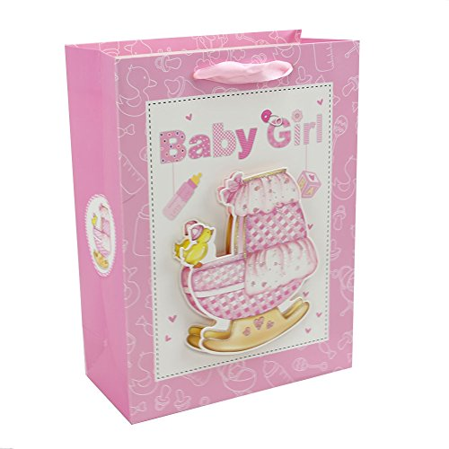 Personalised Premium Gift Bags Set with Ribbon Durable Handles Paper Present Bag for Birthday, Christmas and Holiday Presents (Set of (Personalised Ribbon)