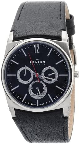 Skagen Men s 759LSLB1 Black Dial Chronograph With Black Leather Band Watch