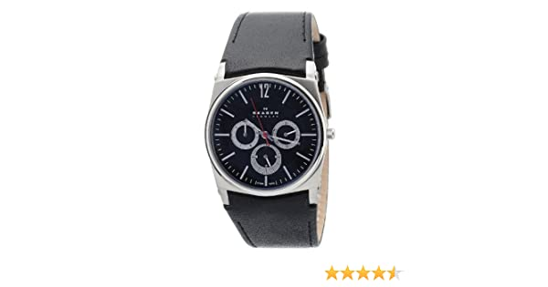 Amazon.com: Skagen Mens 759LSLB1 Black Dial Chronograph With Black Leather Band Watch: Skagen: Watches