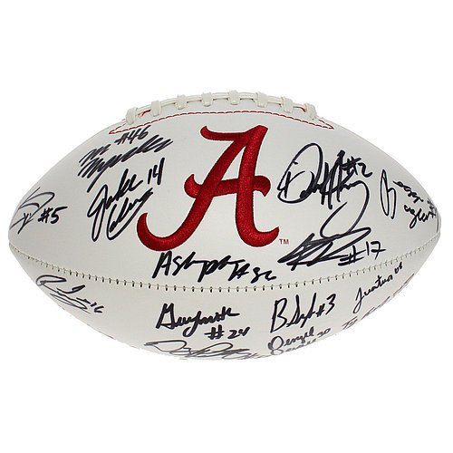 Alabama Crimson Tide 2015 National Championship Team Autographed White Panel Football - Without Nick Saban - Certified Authentic